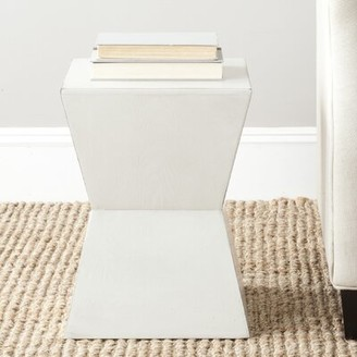 Wade Logan Joanna Drum End Table Color: White
