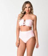 Betsey Johnson Light Pink Ruffles & Bows Malibu Bandeau Swim Top