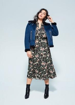 MANGO Violeta BY Faux fur appliquA jacket blue - XL - Plus sizes
