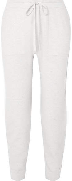 Vince Mélange Wool-blend Track Pants - White