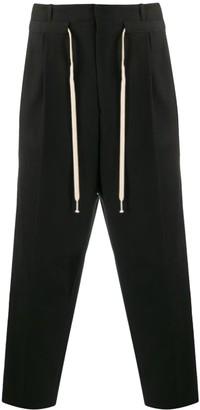 Ami Alexandre Mattiussi Pleated Drawstring Waist Trousers Black