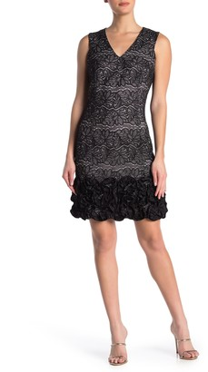 Donna Ricco Metallic Lace V-Neck Ruffled Sheath Dress