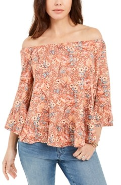 Style&Co. Style & Co Petite Off-The-Shoulder Printed Top, Created for Macy's