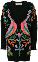 Veronique Branquinho peacock v-neck sweater