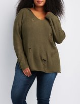 Charlotte Russe Plus Size Distressed Hooded Shaker Stitch Sweater