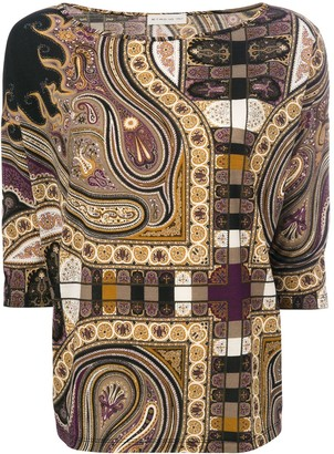 Etro Paisley-Print 3/4 Sleeve Blouse