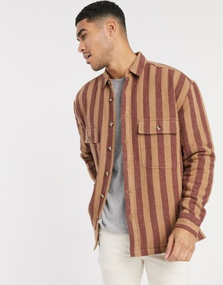 ASOS DESIGN quilted overshirt in vintage stripe