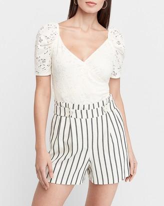 Express Super High Waisted Striped Linen Blend Shorts