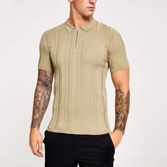 River Island Mens Beige rib knit muscle fit half zip polo shirt