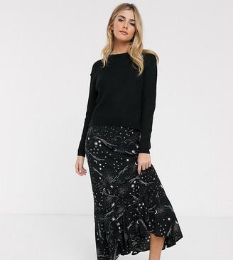 Nobody's Child maxi satin skirt with ruffle hem in cosmos galaxy