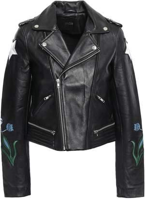 Maje Embroidered Leather Biker Jacket