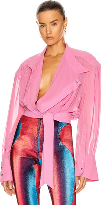 Thierry Mugler Long Sleeve Blouse in Hot Pink | FWRD