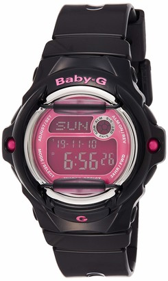 Casio Women's Baby G Quartz 200M WR Shock Resistant Resin Color: Black with Pink Face (Model BG-169R-1B)
