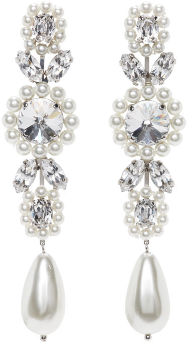 Simone Rocha White Jewelled Drop Cameo Earrings