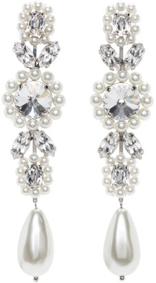 Simone Rocha White Jewelled Drop Cameo Earrings
