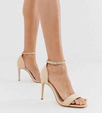 Truffle Collection wide fit stiletto barely there square toe heeled sandals-Beige