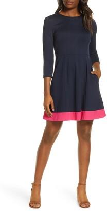Eliza J Contrast Hem Fit & Flare Dress