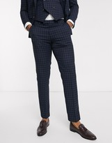 Harry Brown slim fit navy tonal grid check suit trousers