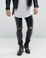 Asos Meggings In Faux Leather With Knee Rips