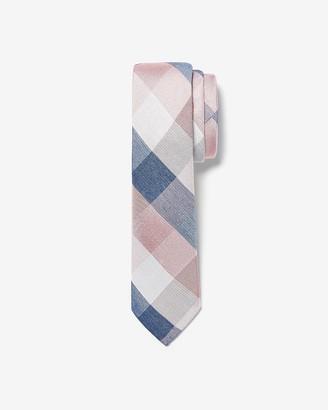 Express Narrow Check Print Silk Tie