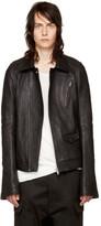 Rick Owens Black Leather Stooges Bomber Jacket