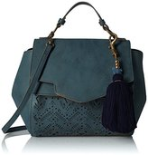 T-Shirt & Jeans Perforated Satchel with Tassel
