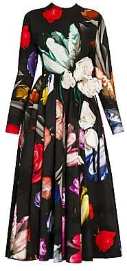 Prada Women's Poplin Floral Appliqué Fit-&-Flare Dress