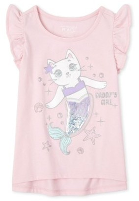 """The Children's Place Baby Girl & Toddler Girl """"Confetti Shakey"""" Interactive Graphic Flutter Sleeve Tank Top (9M-5T)"""