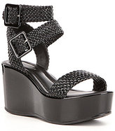 Donald J Pliner Cyndi Woven Patent Leather Platform Wedge Sandals