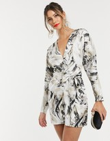 Asos Design DESIGN mini dress with batwing sleeve and wrap waist in satin in abstract print