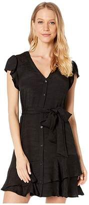 1 STATE 1.STATE Short Sleeve Button Down Asymmetrical Ruffle Dress