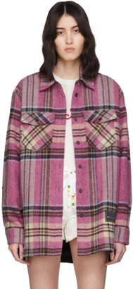 we11done Pink Wool English Check Shirt Jacket