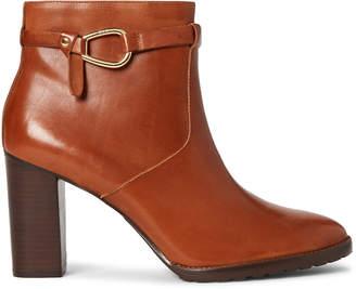 Lauren Ralph Lauren Deep Saddle Laletta Leather Ankle Booties