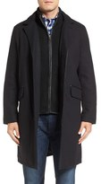 Cole Haan Men's Wool Blend Overcoat With Knit Bib Inset