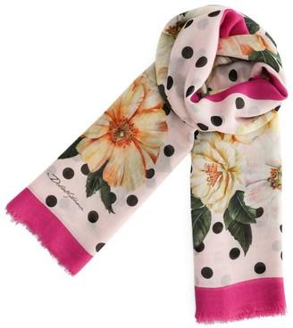 Dolce & Gabbana Cashmere-Silk Camellia Print Scarf