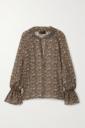 Nili Lotan Royan Tie-detailed Floral-print Silk-georgette Blouse - Brown