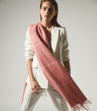 Reiss POLLY WOOL CASHMERE BLEND OVERSIZED SCARF Pink