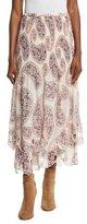 See by Chloe Tiered Paisley Chiffon Midi Skirt, Winter White