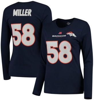 Majestic Women's Von Miller Navy Denver Broncos Fair Catch V Name & Number Long Sleeve T-Shirt