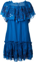 Roberto Cavalli embroidered off-the-shoulder dress - women - Silk/Cotton - 40