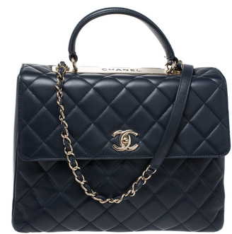 Chanel Blue Lambskin Leather Trendy CC Large Top Handle Bag
