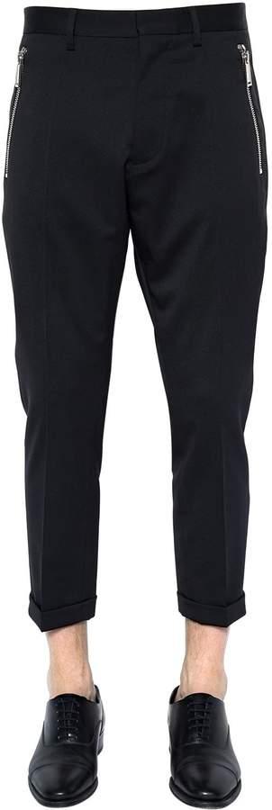DSQUARED2 16cm Hockney Stretch Wool Pants W/ Zips