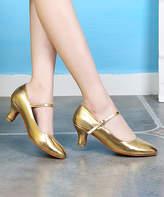 Ydancer YDANCER Women's Pumps Gold - Gold Patent Leather Mary Jane - Women
