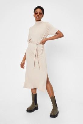 Nasty Gal Womens Tee Bt Belted Midi Dress - Beige - 4