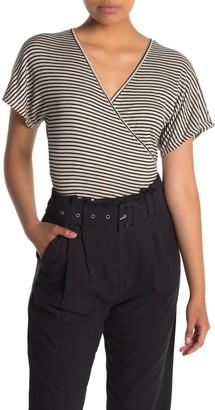 Lush Stripe Faux Wrap Knit Shirt