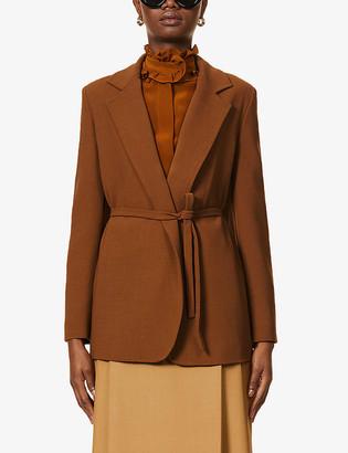 Max Mara Belted stretch wool-crepe blazer