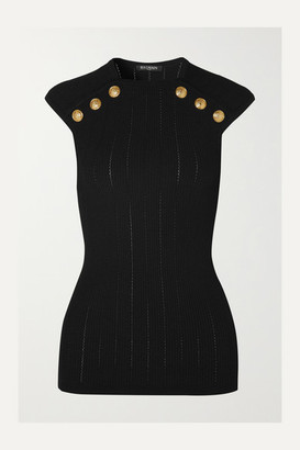 Balmain Button-embellished Ribbed-knit Tank - Black