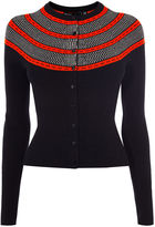 Karen Millen Circle Yoke Cardigan - Black/multi