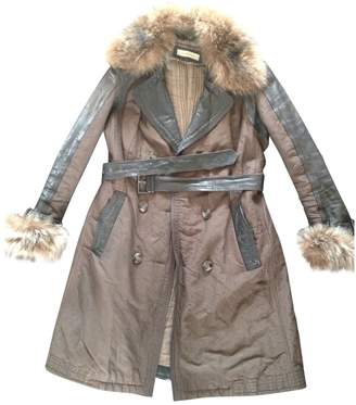 Gerard Darel Brown Leather Coat for Women