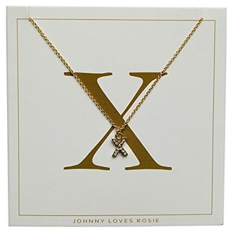 Johnny Loves Rosie Women Gold Plated Glass Chain Necklace of Length 48cm X Initial Gift Card